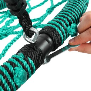 40 Inch Spider Web Round Rope Swing with Adjustable Ropes, 2 Carabiners  (Green & black)