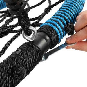 40 Inch Spider Web Round Rope Swing with Adjustable Ropes, 2 Carabiners  (Blue & Black)