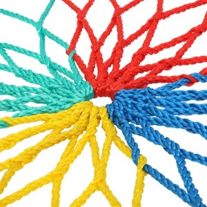 40 Inch Spider Web Round Rope Swing with Adjustable Ropes, 2 Carabiners  (Colorful)