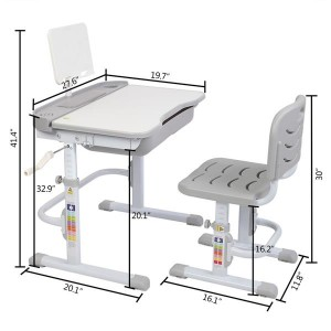 80Cm Hand-Operated Lifting Table Top Can Tilt Children's Study Table And Chair Gray (With Reading Frame   Without Lamp)