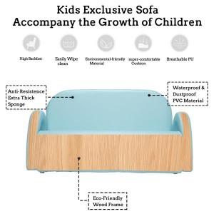 Children's Double Sofa Rainbow Section Sky Blue