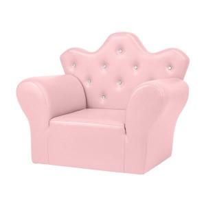 Children Sofa PVC Leather Princess Sofa Mini Sofa Bright Pink