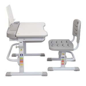 70CM Lifting Table Can Tilt Children Learning Table And Chair Gray (With Reading Stand Without Table Lamp)