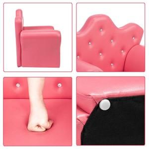 [US-W]Kid's Sofa PVC Princess Mini Sofa Bright Rose Red with Ottoman