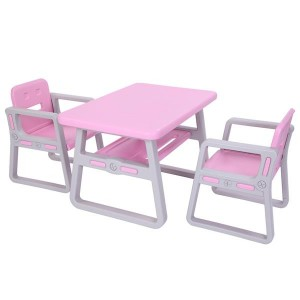 Kids Table and Chairs Set - Toddler Activity Chair Best for Toddlers Lego, Reading, Train, Art Play-Room (2 Childrens Seats with 1 Tables Sets) Little Kid Children Furniture Accessories - Plastic Des