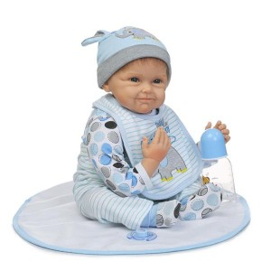 """NPK 22"""" Silicone Lovely Baby Doll with Clothes Blue Elephant"""
