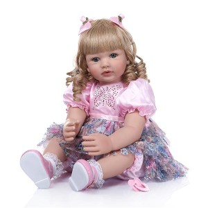 """24"""" Beautiful Simulation Baby Golden Curly Girl Wearing Colorful Print Skirt Doll"""