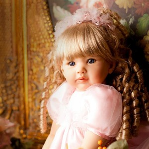 "24"" Beautiful Simulation Baby Golden Curly Girl Wearing Pink Princess Dress Doll"