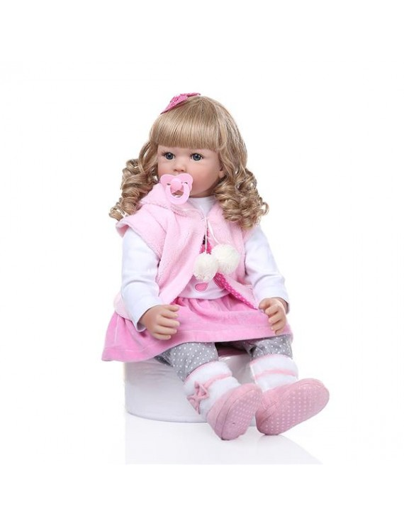"""24"""" Beautiful Simulation Baby Golden Curly Girl Wearing Pink Rabbit Clothes Doll"""