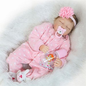 Europe and America Fashionable Play House Toy Lovely Simulation Baby Doll with Clothes Pink Rabbit P