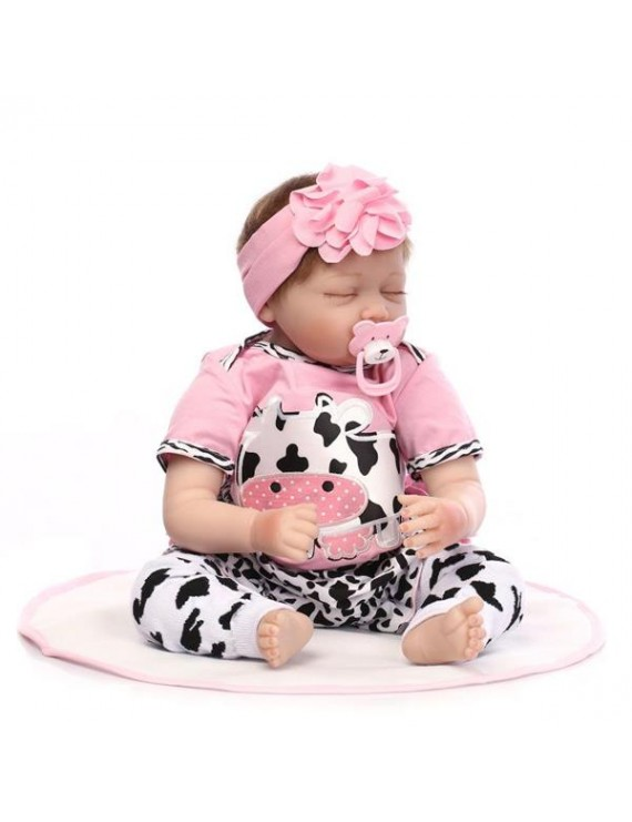 """22"""" Mini Cute Simulation Baby Sleeping Baby in Cow Pattern Clothes Pink"""