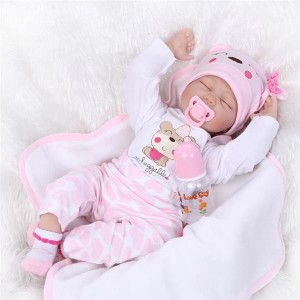 """22"""" Mini Cute Simulation Baby Toy in Hippo Pattern Clothes Pink"""
