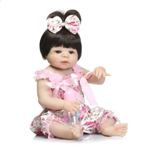"""22"""" Cute Simulation Silicone Baby Girl Reborn Baby Doll in Suspenders"""
