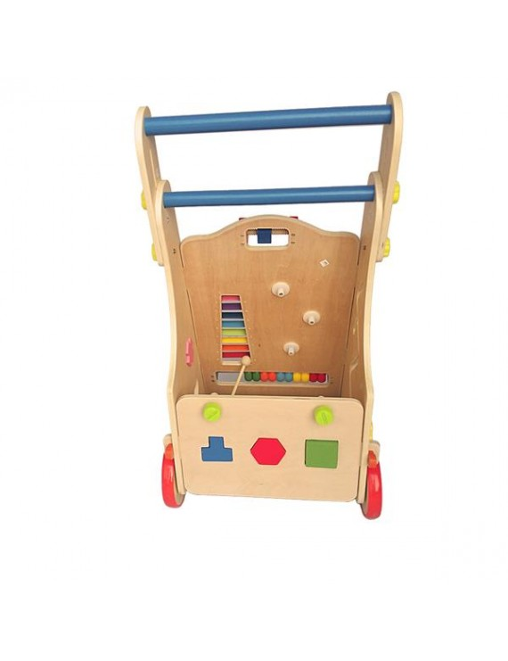 Adjustable Wooden Baby Walker Toddler Toys with Multiple Activity Toys Center