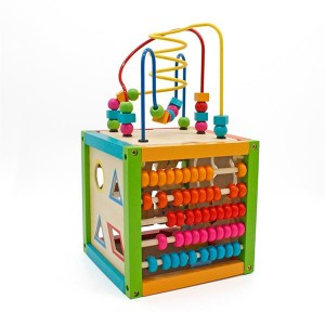 Wooden Learning Bead Maze Cube 5 in 1 Activity Center Educational Toy