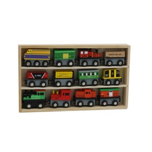 12 Piece Wooden Toy Train Cars Set Compatible with Other Tracks