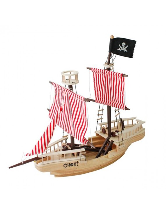 [US-W]Large Wooden Pirate Ship Toy For Kids Multicolor
