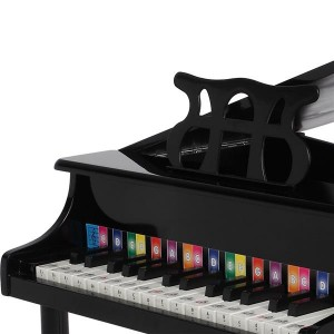 Wooden Toys: 30-key Children's Wooden Piano / Four Feet / with Music Stand, Mechanical Sound Quality,Black