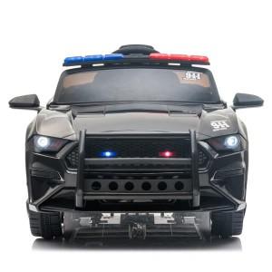 12V Kids Ride On Car ,Police sports car,2.4GHZ Remote Control,LED Lights,Siren,Microphone,Black