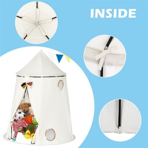 Cotton Yurt Tent With Small Colorful Flags White