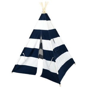 4pcs Wooden Poles Teepee Tent for Kids Navy Blue and White Stripes