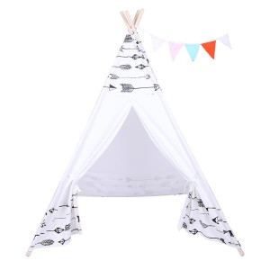 Indian Tent Children Teepee Tent Baby Indoor Dollhouse with Small Coloured Flags roller shade and pocket Arrow Pattern