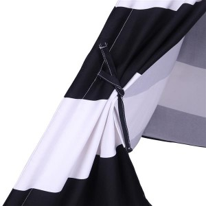 Indian Tent Children Teepee Tent Baby Indoor Dollhouse with Small Coloured Flags roller shade and pocket Black and White Stripes