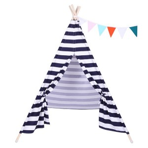 Indian Tent Children Teepee Tent Baby Indoor Dollhouse with Small Coloured Flags roller shade and pocket Blue and White Stripes